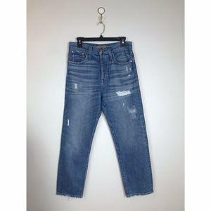 Point Sur Button Fly High Rise Boyfriend Jeans